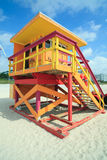 South Beach Lifeguard Hut. Colorful lifeguard station/hut located in South Beach, Miami royalty free stock image
