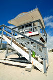 South Beach Lifeguard Hut. Portrait image of a lifeguard hut/station in Miami's South beach royalty free stock photos