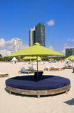 South Beach lounge chairs and umbrellas Royalty Free Stock Photo