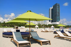 South Beach lounge chairs and umbrellas Royalty Free Stock Image