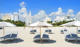 South Beach lounge chairs and umbrellas Stock Image