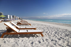 South Beach Miami. South Beach sunbeds, Miami, Florida stock image