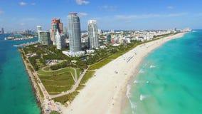 South Beach, Miami Beach. Florida. Aerial footage of Miami South Beach and Miami harbor stock video