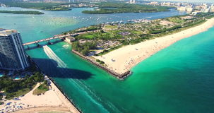 South Beach, Miami Beach. Florida. Haulover Park. Aerial video stock video footage
