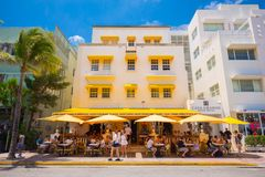 South Beach, Miami Beach, Ocean Drive Street, Architectural Monuments of Art Deco. Hotels and restaurants. Colorful Art Deco style, World famous travel location Royalty Free Stock Images