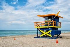 South Beach, Miami, Florida, lifeguard house in the beach Stock Photo