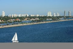 South Beach Miami Florida Panorama with Sailboat. Panorama Shot of South Beach Florida.  Sailboats, palm trees, and office building all populate the scene Royalty Free Stock Photography
