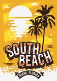 South Beach Miami Florida Summer Poster Design With Palm Trees Illustration And A Sunrise On The Beach. Vector Graphic Royalty Free Stock Photo