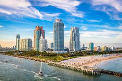 South Beach, Miami, Florida, USA. Over South Pointe Park Royalty Free Stock Image