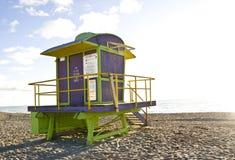 South Beach Miami Lifeguard station. A classic deco-inspired lifeguard stand in South Beach Miami, Florida Stock Photos
