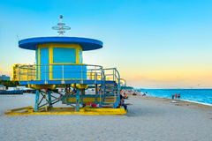 South Beach in Miami near sunset with one of its iconic lifeguard towers royalty free stock image