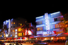 South Beach Miami night. Ocean Drive, South Beach, Miami, Florida by night with the Colony Hotel in view