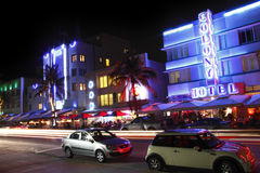 South Beach Miami Night. Iconic Ocean Drive hotels , South Beach, Miami by night Royalty Free Stock Images