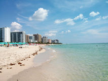 South Beach Miami. Sunny day in South Beach, Miami with ocean and hotels Stock Image