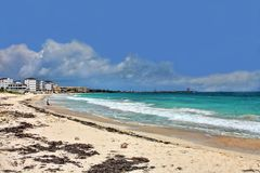 South Beach at Puerto Morelos. Quintana Roo, Mexico. View looking northwards towards new hotels and the town stock photo