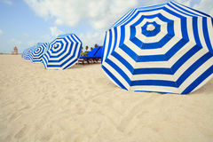 South Beach Umbrellas. Row of blue and white striped umbrellas in South Beach, Miami royalty free stock photo