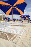 South Beach Umbrellas and Lounge Chairs Royalty Free Stock Images