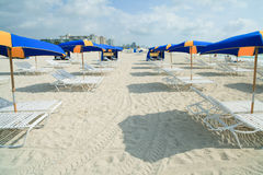 South Beach Umbrellas and Lounge Chairs. Rows of lounge chairs and umbrellas in South Beach, Miami stock photo