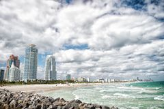 South Beach view from the pier, Miami Beach in Florida famoust tourist atraction. Aerial view of South Pointe Park and Pie Royalty Free Stock Photography