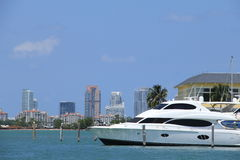 South Beach and a Yacht Royalty Free Stock Images