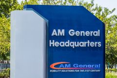 South Bend - Circa August 2018: Global headquarters of AM General. AM General produces and maintains the famed HUMVEE. Global headquarters of AM General. AM stock image