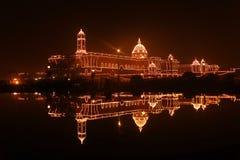 South block: Prime Minister Office fully illuminat Royalty Free Stock Photography