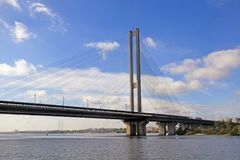 South bridge across the Dnieper River, Kiev, Ukraine. Royalty Free Stock Photography