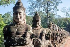 South Bridge Angkor Stone Carvings along bridge Stock Images