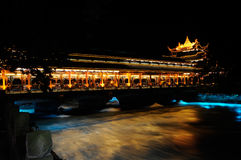 South Bridge of Dujiangyan Dam at night Royalty Free Stock Images