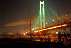 South Bridge at Night, Kiev, UA Royalty Free Stock Image