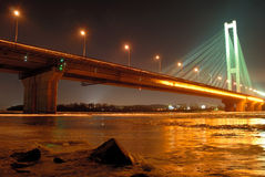 South Bridge at Night, Kiev, UA Royalty Free Stock Photo