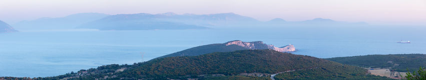South cape of Lefkas island (Greece). South cape of Lefkas island sunset panorama (Greece, Ionian Sea Royalty Free Stock Photography