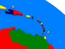 South Caribbean on colorful 3D globe. South Caribbean on colorful political globe. 3D illustration Royalty Free Stock Photos