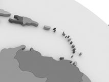 South Caribbean on grey 3D map Royalty Free Stock Photos