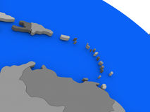 South Caribbean on political Earth model. Map of South Caribbean on 3D model of Earth with countries in various shades of grey and blue oceans. 3D illustration Stock Photography
