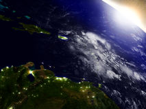 South Caribbean from space during sunrise royalty free illustration
