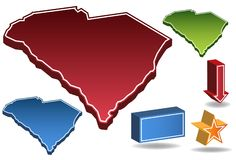 South Carolina 3D. Set of 3D images of the State of South Carolina with icons Stock Image