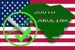 South Carolina on cannabis background. Drug policy. Legalization of marijuana on USA flag, Stock Photography
