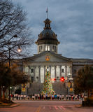 South Carolina Capitol protestors. Police brutality protesters line the street in front of the South Carolina State House at night in Columbia, South Carolina Royalty Free Stock Image
