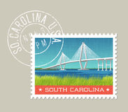 South Carolina coastal landscape with bridge. South Carolina postage stamp design. Vector illustration of coastal landscape with bridge. Grunge postmark on vector illustration