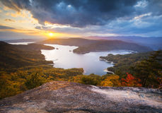 South Carolina Fall Foliage Lake Jocassee Scenic Stock Images