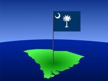 South Carolina with flag stock illustration