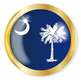 South Carolina Flag Button. South Carolina state flag button with a gold metal circular border over a white background Stock Images