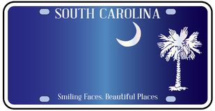 South Carolina Flag License Plate. South Carolina state license plate in the colors of the state flag with icons over a white background Stock Images