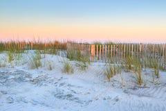 South Carolina Folly Beach Erosion Fencing Stock Photo