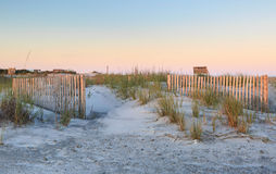 South Carolina Folly Beach Erosion Fencing Stock Image