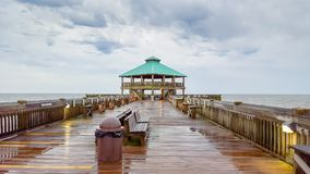 South Carolina Folly Beach Pier Rainy Day Stock Photos