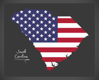 South Carolina map with American national flag illustration Royalty Free Stock Images