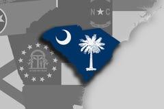 South Carolina map and flag Stock Image