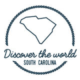 South Carolina Map Outline. Vintage. Discover the World Rubber Stamp with South Carolina Map. Hipster Style Nautical Rubber Stamp, with Round Rope Border. USA Royalty Free Stock Images